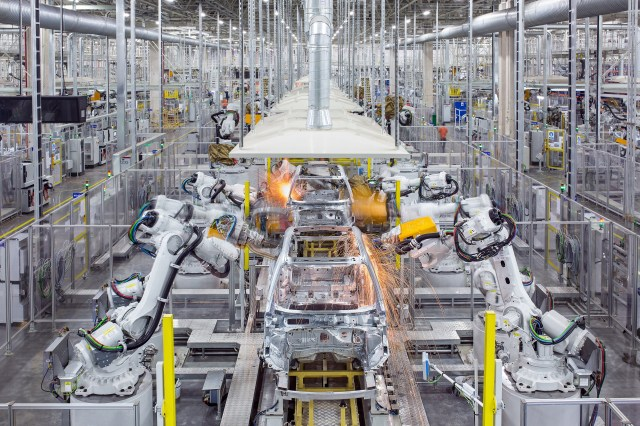 Car manufacturing underway at Luqiao manufacturing plant in China
